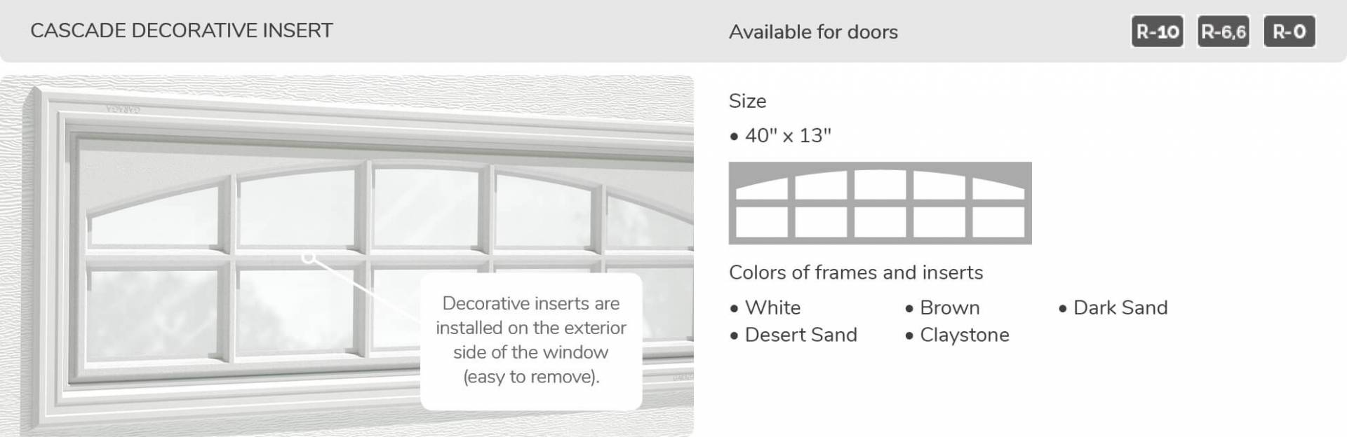 "Cascade Decorative Insert, 40"" x 13"", available for doors R-10, R-6.6, R-0"